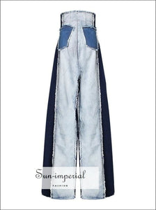 Tow Tone Women Color Block Wide Leg Denim High Waist Jeans Pants street style, unique style SUN-IMPERIAL United States