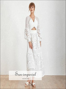 Trinity Dress- Solid Black and White Lace Maxi Dress V Neck Lantern Sleeve a Line Dress