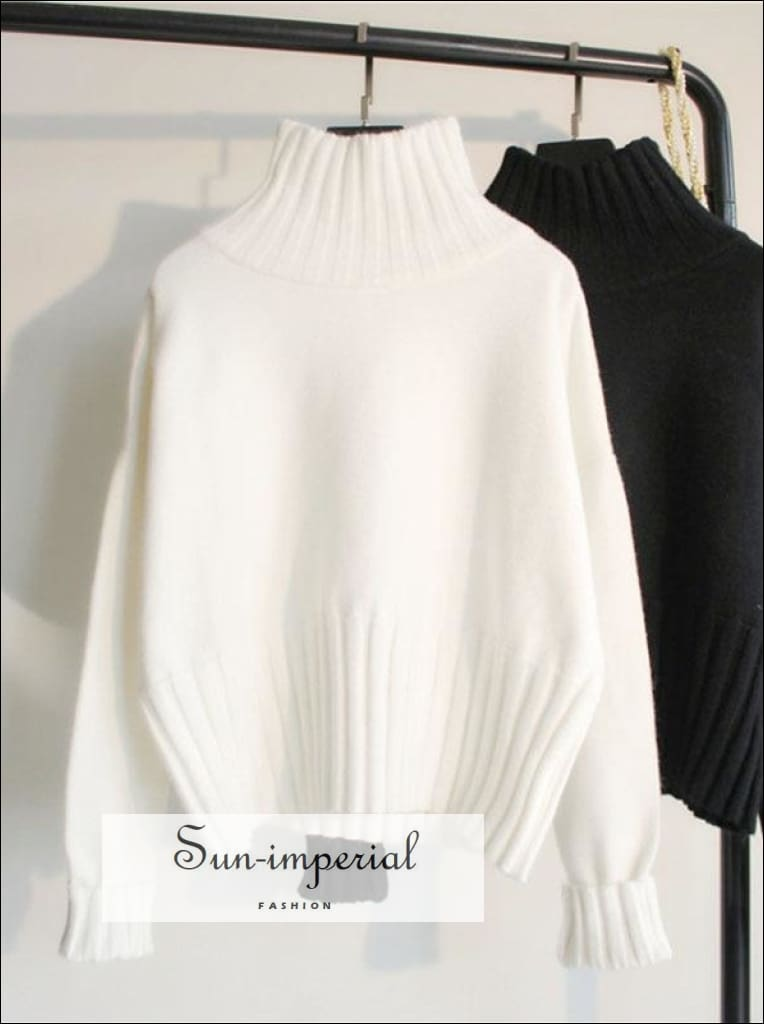 Turtleneck Sweater for Women Pullover High Elasticity Knitted Ribbed Slim Jumper