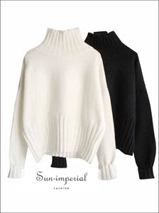 Turtleneck Sweater for Women Pullover High Elasticity Knitted Ribbed Slim Jumper SUN-IMPERIAL United States