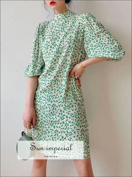 Turtleneck White with Green Floral Print Puff Half Sleeve Mini Dress SUN-IMPERIAL United States