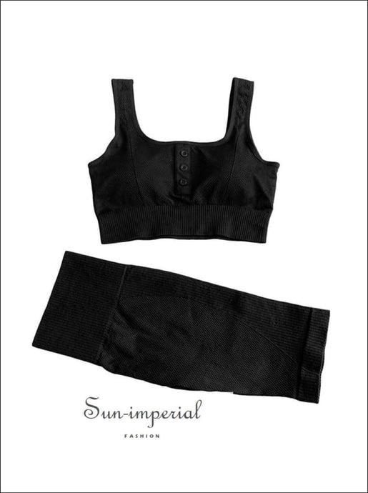 Two-piece Black Ribbed Button Cropped Sport top and High Waist Slimming Short Leggings Set ACTIVE WEAR, activewear, basic style, sporty
