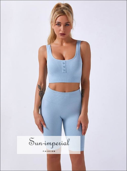 Two-piece Blue Ribbed Button Cropped Sport top and High Waist Slimming Short Leggings Set ACTIVE WEAR, activewear, basic style, sporty style