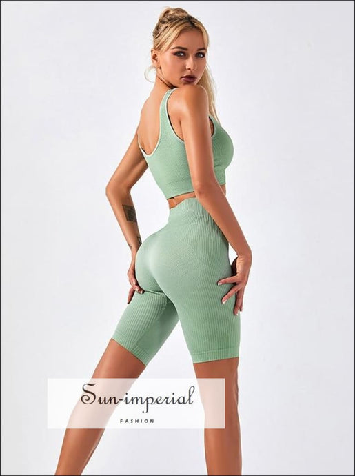 Two-piece Green Ribbed Button Cropped Sport top and High Waist Slimming Short Leggings Set ACTIVE WEAR, activewear, basic style, sporty