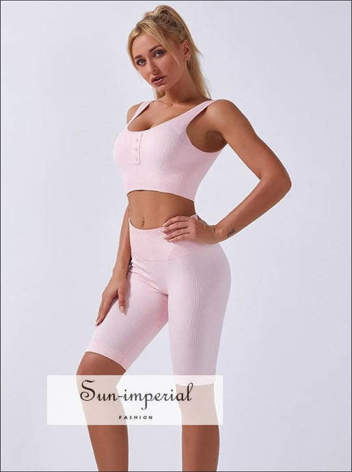 Two-piece Pink Ribbed Button Cropped Sport top and High Waist Slimming Short Leggings Set ACTIVE WEAR, activewear, basic style, sporty style