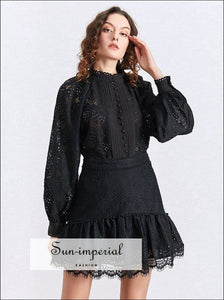 Two Piece Skirt Set with Lantern Sleeve Blouse and High Waist Patchwork Lace BLACK, Elegant, elegant style, Unique WHITE SUN-IMPERIAL United