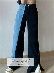 Two Tone Jean Pants Light Blue and Black Wide Leg with Tik Tok Buttoned Edges High Waist Denim for denm, jeans, street style, tik tok