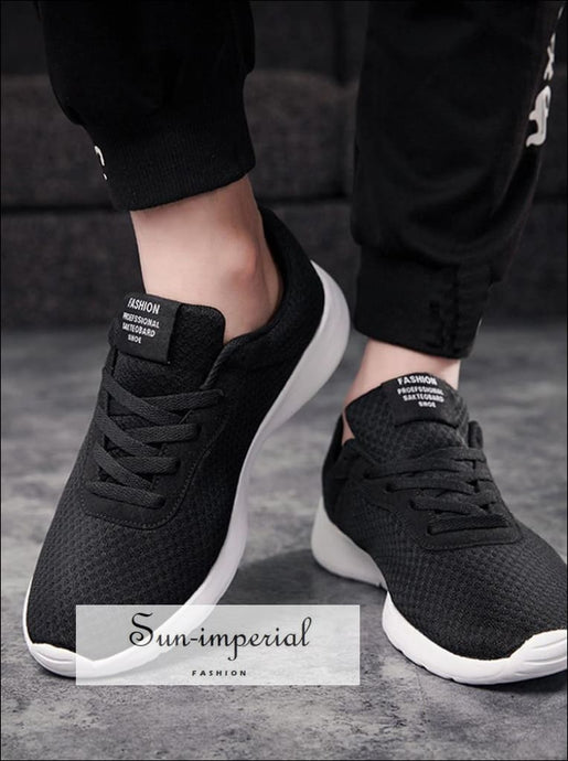 Unisex mesh breathable casual shoes lace-UP sneakers unisex couple running shoes solid color SUN-IMPERIAL United States