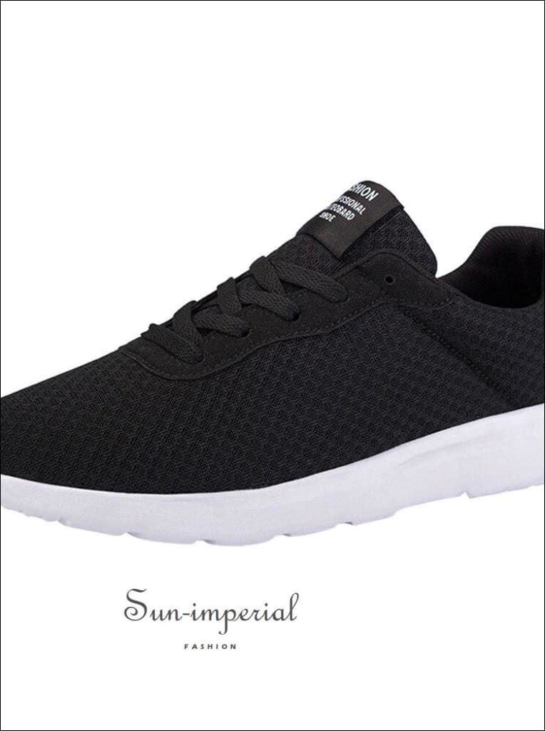 Unisex mesh breathable casual shoes lace-UP sneakers unisex couple running solid color SUN-IMPERIAL United States
