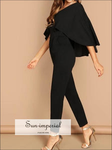 V Neck Solid Cape Jumpsuit SUN-IMPERIAL United States