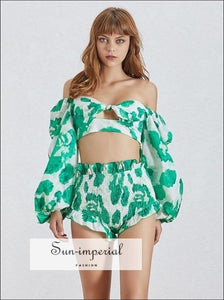 Valence shorts set in green - Tropical Print Beach Women 2 piece short set Square Neck Lantern Sleeve Hollow Out Crop Tops High Waist Shorts