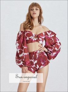 Sun-Imperial Valence Shorts Set in Red- Floral Tropical Print Women Two Piece Set Slash Neck Lantern Sleeve Crop