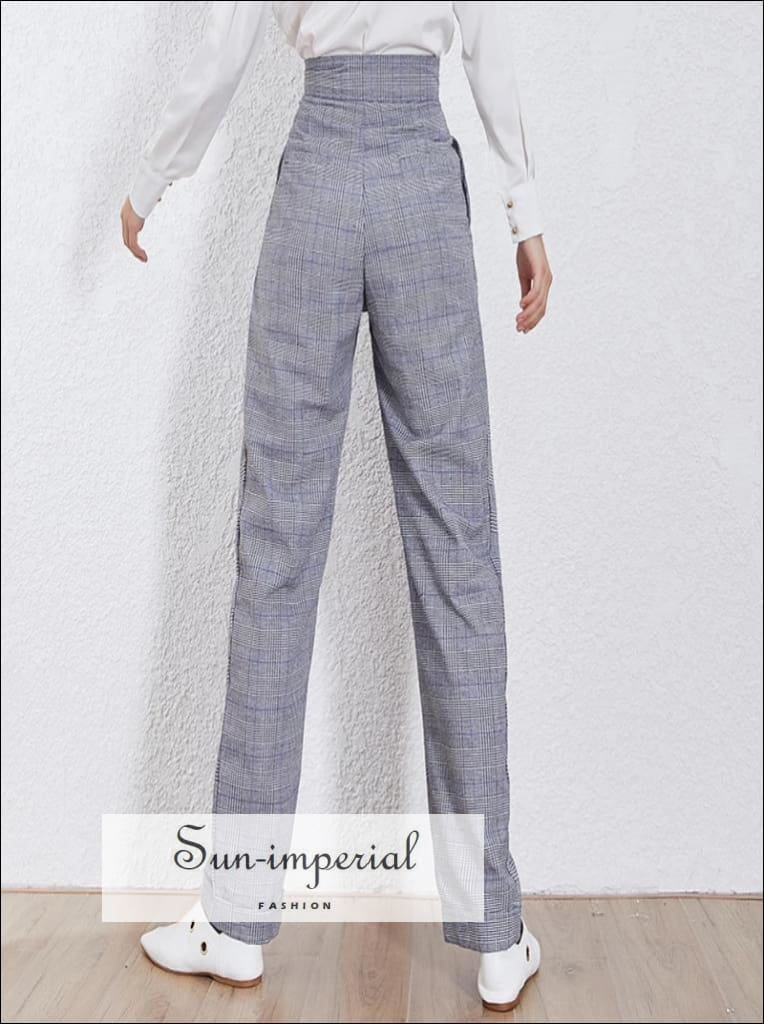 Valentina Pants - Plaid Womens Pants Harem High Waist Pockets Zipper Ankle-length Pant Ankle-length Pant Casual High Waist Pockets Zippe