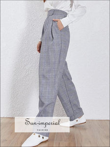 Valentina Pants - Plaid Women's Harem High Waist Pockets Zipper Ankle-length Pant Pant, Casual, Waist, Zippe, vintage SUN-IMPERIAL United