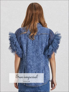 Valerie Denim Jacket - Mesh Patchwork Women Jacket Lapel Sleeveless Button over Size Denim Coat
