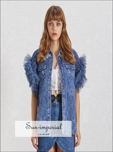 Valerie Denim Jacket - Mesh Patchwork Women Jacket Lapel Sleeveless Button over Size Denim Coat Denim Coat Female Fashion Clothes Lapel