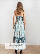 Venice Dress - Elegant Vintage floral Print maxi Dress Sleeveless High Waist Ruched bust Elegant Print Maxi Dresses Off Shoulder Sleeveless