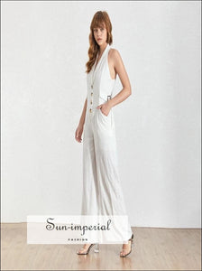 Vera Jumpsuit - Women's V Neck Sleeveless off Shoulder Button Pockets Jumpsuiit Pockets, Sleeveless, Neck, vintage, SUN-IMPERIAL United