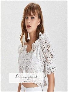 Versailles top - off Shoulder Solid Women Blouse Lace Short Sleeve Crop top