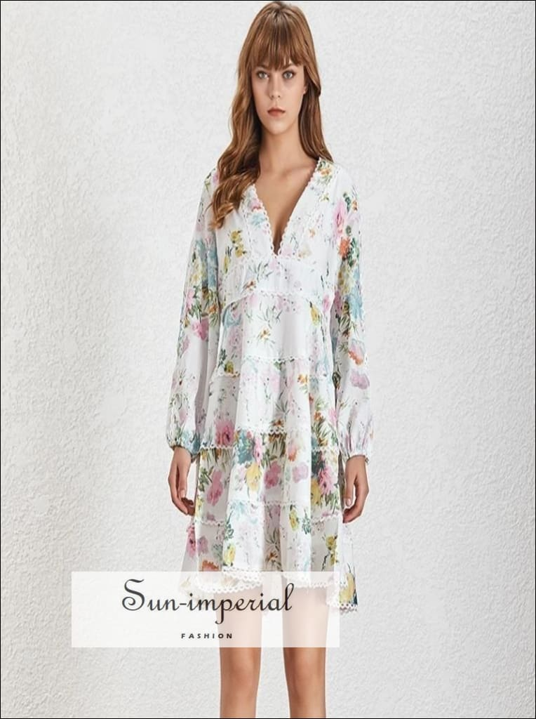 Vichy Dress- Vintage Floral Print Mini Dress V Neck Lantern Long Sleeve High Waist Lace Sleeve, Patchwork Dresses, Women Dress, Neck,