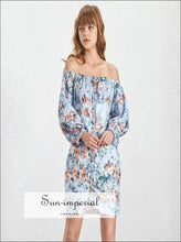 Villeurbanne Dress - Summer Floral Print Women Slash Neck off Shoulder Lantern Sleeve Sleeve, Off Shoulder, Prairie Chic Print, Neck,