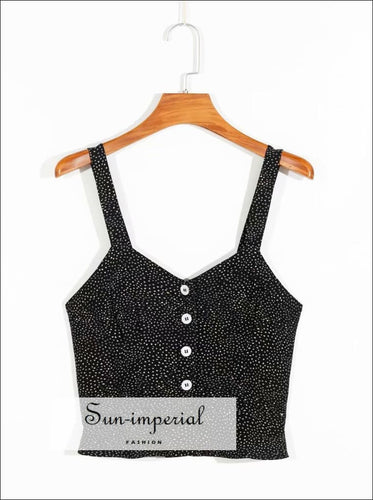 Vintage Black Dot Print Women Cami Slim Buttoned Crop top SUN-IMPERIAL United States
