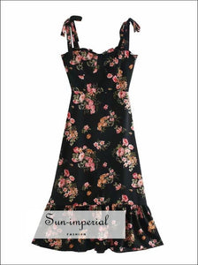 Vintage Black Floral Tie Cami Strap Midi Dress A-line Cut with Ruffle Decor vintage style SUN-IMPERIAL United States