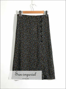 Vintage Black Midi side Buttons Split Skirt Dot Print High Waist Wrap SUN-IMPERIAL United States