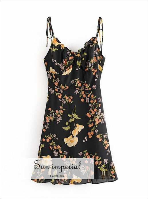 Vintage Black with Yellow Floral Print Chiffon Tie Cami Strap Summer Mini Dress Ruffles Edge cami strap edge details SUN-IMPERIAL United