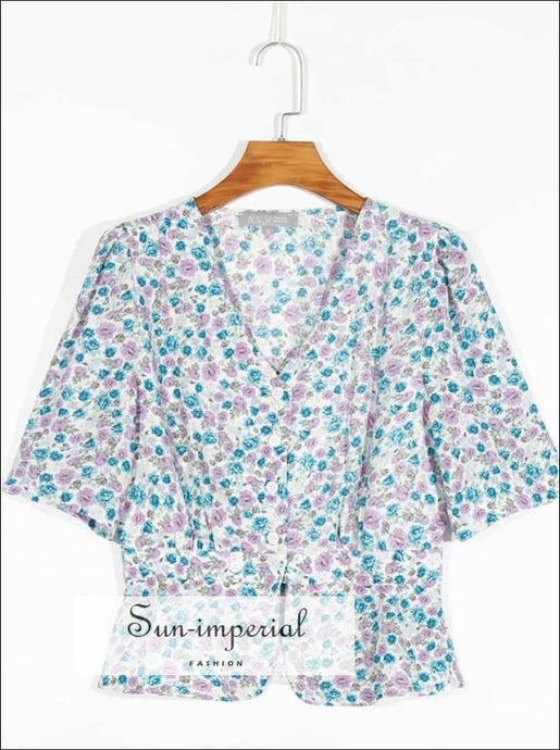 Vintage Blue and Pink Flower Print Blouse Center Buttoned Short Sleeve Women top blue pink SUN-IMPERIAL United States
