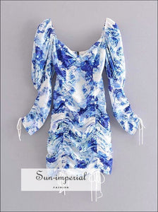 Vintage Blue Floral Drawstring Long Sleeve Mini Backless Dress