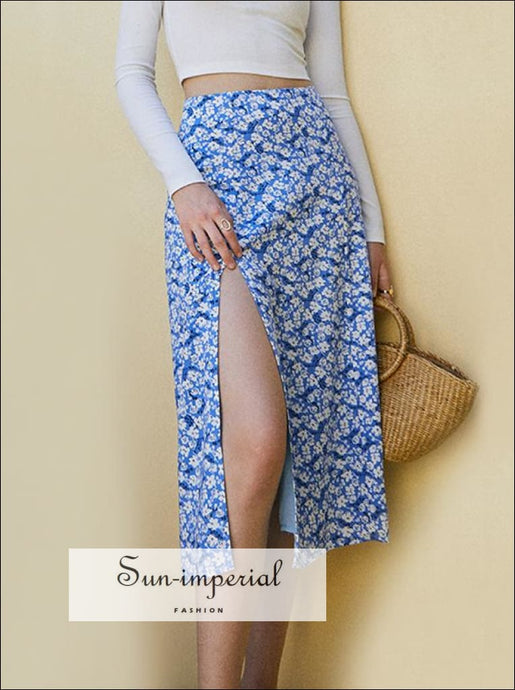Vintage Blue Floral Print Crop top and Midi Skirt Two Piece Set Short Sleeve Blouse 1 Top, Top And piece set blouse skirt SUN-IMPERIAL