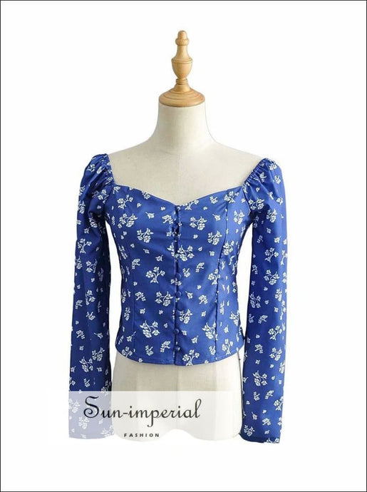 Vintage Blue Floral Print Long Sleeve top Center Buttoned Women Blouse SUN-IMPERIAL United States