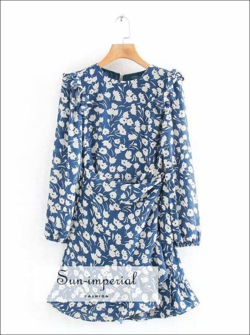 Vintage Blue Floral Print O Neck Long Sleeve Mini Dress Dress, vintage style SUN-IMPERIAL United States