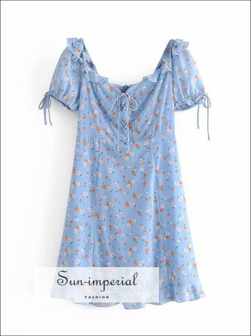 Vintage Blue Floral Print Summer Mini Dress Ruched Bust Tie front Short Flared Sleeve Sweetheart mini dress ruched bust tie short flared