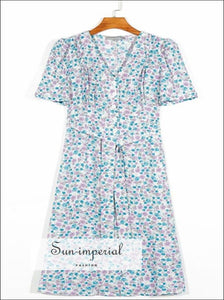 Vintage Blue Pink Floral Print Women Midi Dress Short Sleeve Center Buttoned V Neck Dress