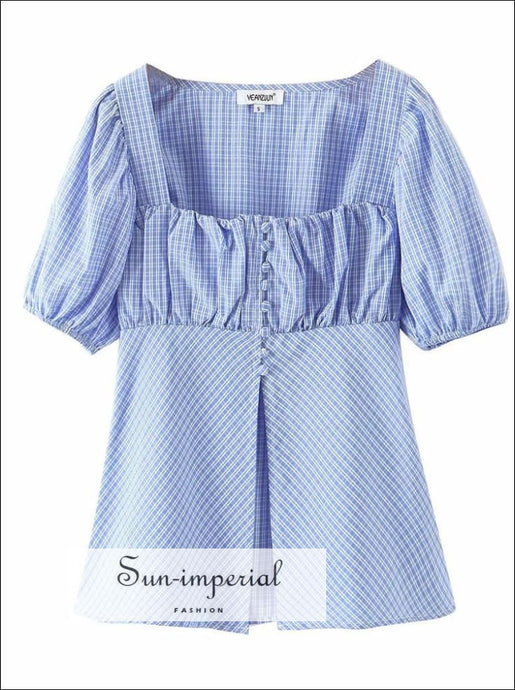 Vintage Blue Plaid Puff Sleeve Ruched Bust Blouse Center Split Women top
