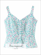Vintage Blue with Pink Floral Print Tank top Cami Strap Slim Cut Buttoned Women top