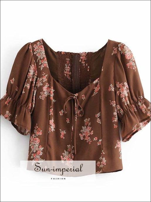 Vintage Brown Floral Print Center Bow Sweetheart Neck Blouse with Puff Flare Short Sleeve detail top Beach Style Print, bohemian style, boho