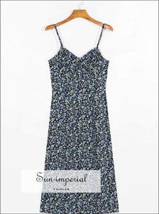 Vintage Cami Strap Midi Blue Floal Dress blue, blue floral dress, cami strap, dress SUN-IMPERIAL United States