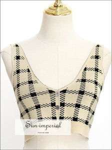 Vintage Cardigan and Crop Cami Set Korean Style Checker Gingham Plaid V Neck Knit Tank best seller, cami strap, cardigan, checkered, gingham