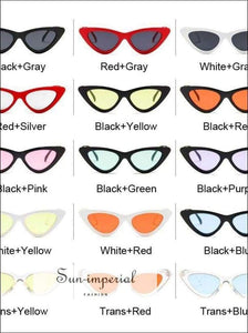 Vintage Cateye Sunglasses Women Small Cat Eye Sun Glasses Colorful Eyewear for Female - SUN-IMPERIAL United States