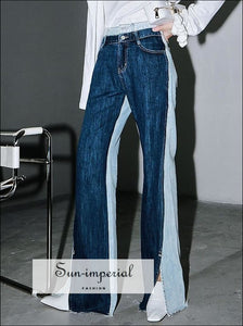 Vintage Color Block Two Tone Women full Length High Waist Denim with side Split Wide Leg Jeans street style, wear, Unique style SUN-IMPERIAL