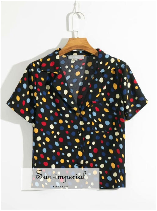Vintage Colorful Dot Print Short Sleeves Women Blouse side Pocket top SUN-IMPERIAL United States