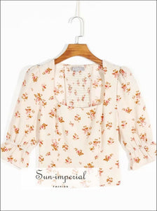 Vintage Cream Chiffon Women top with Square Collar Orange Floral Print Half Flare Sleeve Blouse women orange blouse SUN-IMPERIAL United