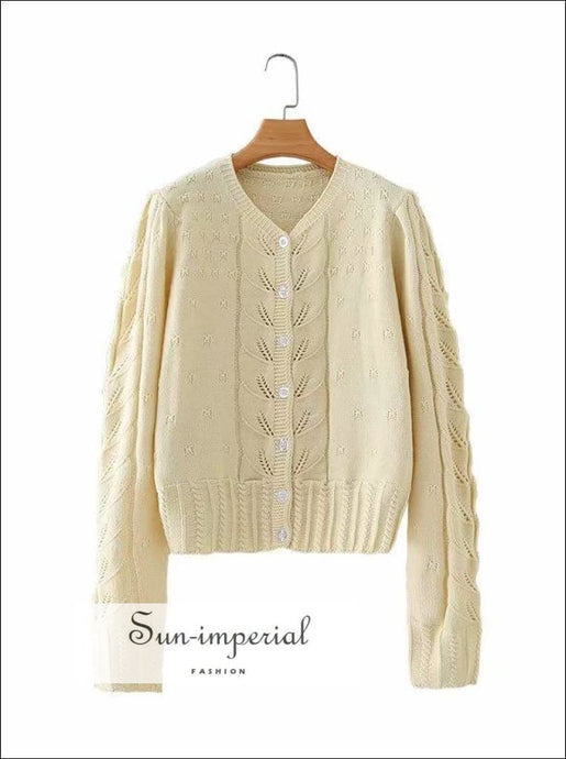 Vintage Cream Long Sleeve Women Knitted Cardigan Twist front Sweater cardigan SUN-IMPERIAL United States