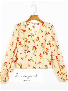 Vintage Cream Red Floral Print Long Sleeve Deep V Neckline Buttoned Women Blouse