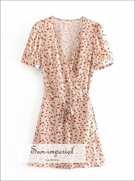 Vintage Cream Red Floral Print Wrap Mini Dress Tie Waist Short Sleeve SUN-IMPERIAL United States
