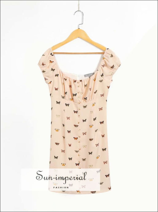 Vintage Cream s Butterfly Print Short Sleeve Ruched Bust Slim Mini Summer Dress