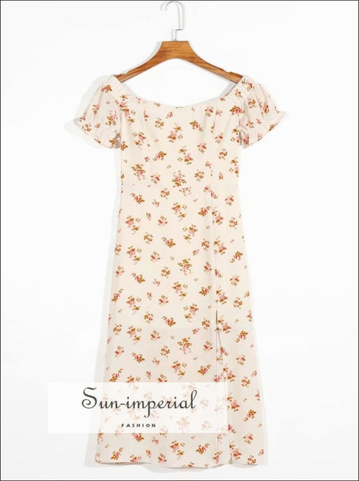 Vintage Cream Split front Orange Floral Print off Shoulder Midi Dress SUN-IMPERIAL United States